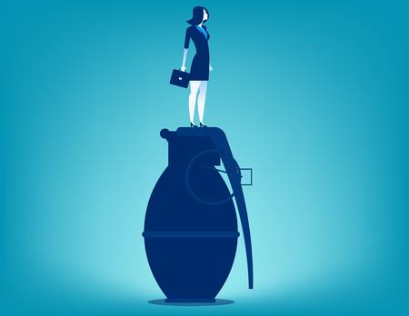 Businesswoman standing on hand grenade. Concept business vector.