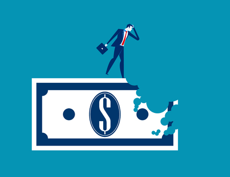 Bite out of profits. Businessman standing on money. Concept business vector illustration. Çizim
