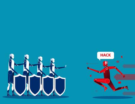 Cyber security. Concept cyborg security Vektorové ilustrace