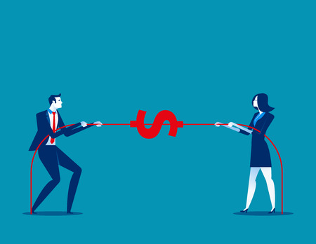 Two business pull the rope. Concept business vector illustration.