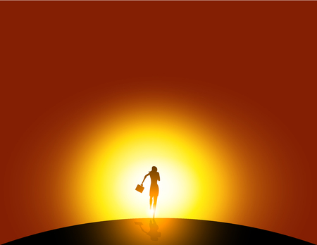 Silhouette businesswoman running. abstract image of business. Business vector.
