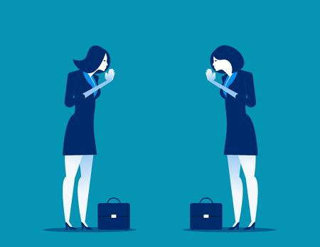 Business partners pay respect hands greeting. Office etiquette. polite salutation. Concept business vector illustration. salutation in Thailand. Illustration