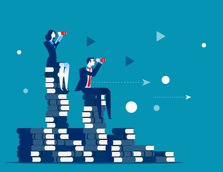 Business team and search for success. Concept business vector illustration. Sitting on the books.