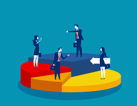 Business people standing of different directions on a pie chart. Concept business vector illustration. Standard-Bild - 110490555