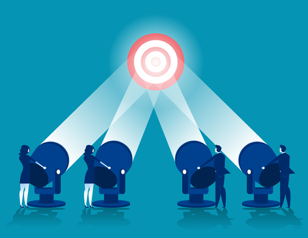 Business team brainstorming success to target. Concept business vector illustration.