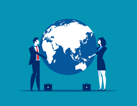 Business team holding the globe. Concept business vector illustration.