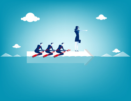 Business teamwork on rowing. Concept business vector illustration.