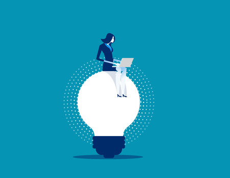 Businesswoman working on ideas. Concept business vector illustration.