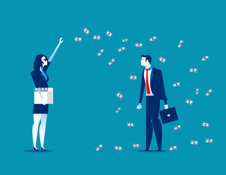 Millionaire throwing money. Concept business vector illustration. Çizim