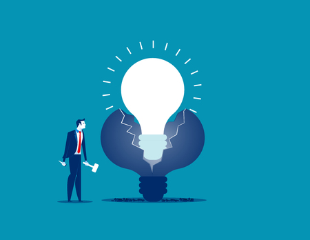 New ideas. Businessman make new ideas. Concept business vector illustration.