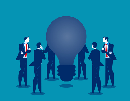 Old ideas. Business people encompass on bulb. Concept business vector illustration.