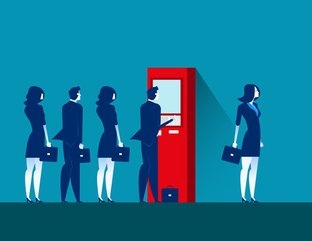People and ATM . Concept business vector illustration.