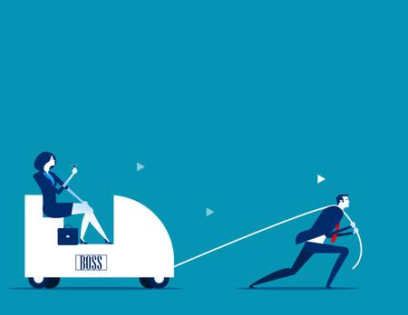 Trek chef. Zakelijke persoon werknemer. Concept zakelijke vectorillustratie.