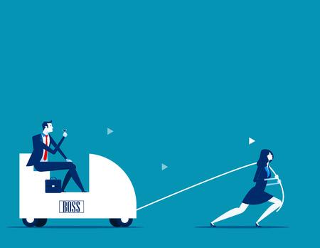 Trek chef. Zakelijke persoon werknemer. Concept zakelijke vectorillustratie. Vector Illustratie