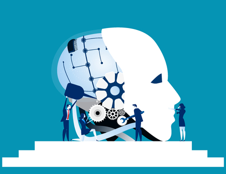 Teamwork. Business team repair robot technology. Concept business technology vector illustration.