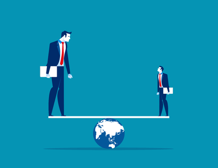 Balance. Small and Large business balancing on seesaw. Concept business vector illustration.  Ilustrace