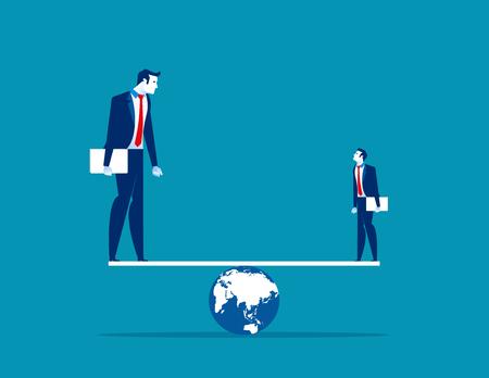 Balance. Small and Large business balancing on seesaw. Concept business vector illustration.  Illusztráció