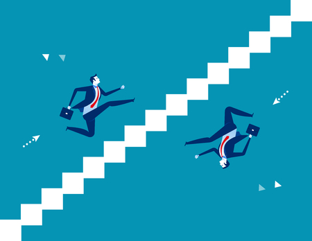 Business person running up and down stairs. Concept business vector illustration.