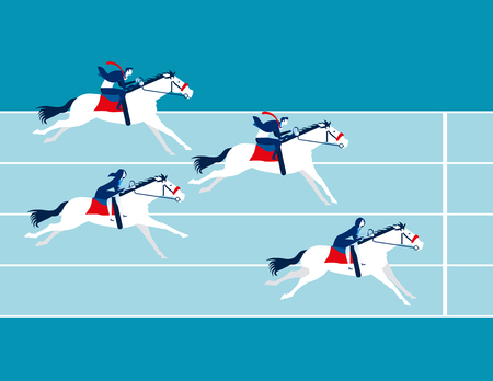 Business race. Business people ride a horse. Concept business vector illustration.