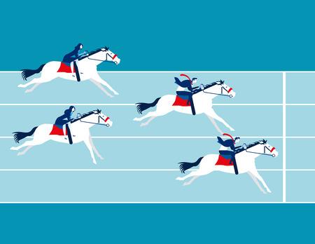 Business race. Business people ride a horse. Concept business vector illustration. Vektorové ilustrace