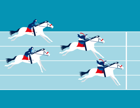 Carrera empresarial. La gente de negocios monta a caballo. Ilustración de vector de concepto empresarial. Ilustración de vector