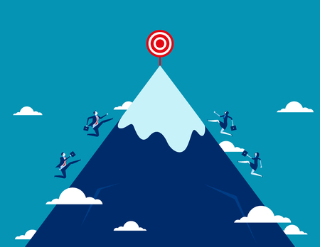 Growth. Business team running for target to success. Concept business vector illustration. Vettoriali