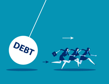 Business team with huge debt bomb. Concept business vector illustration.