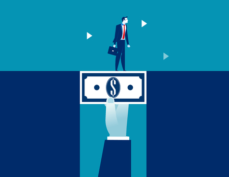 Businessman walking across dollar money bridging the gap. Concept business vector illustration.