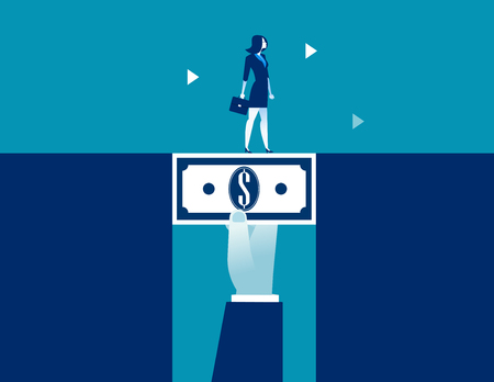 Businesswoman walking across dollar money bridging the gap. Concept business vector illustration.