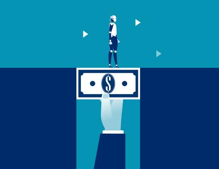 Robot walking across dollar money bridging the gap. Concept business vector illustration.