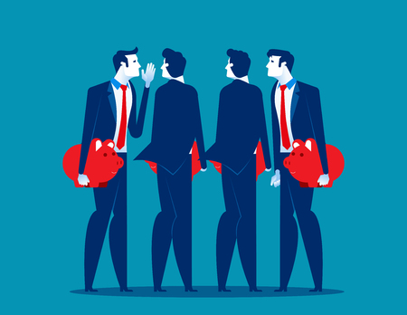 Businessman people with piggy banks conversing. Concept business vector illustration.