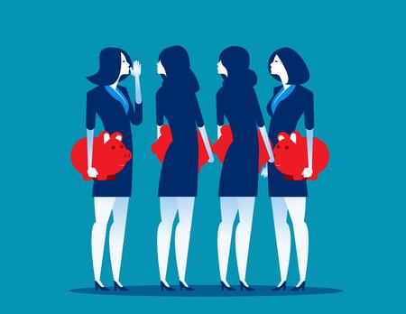 Businessman people with piggy banks conversing. Concept business vector illustration. Illustration
