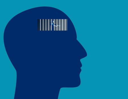 Concept prisoner of mind. Vector flat illustration. Illustration