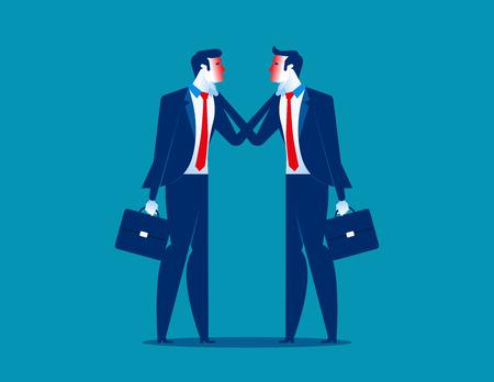 Controverser. Deux hommes d'affaires en désaccord. Illustration vectorielle de concept d'entreprise.
