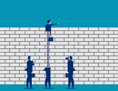 Extended business leader looking over brick wall. Concept business vector illustration. Ilustração