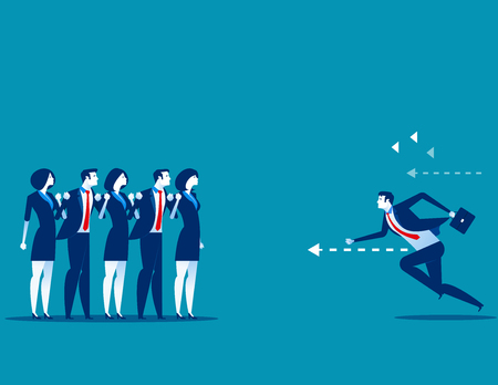 Businessman running right through to the goal. Concept business vector illustration.
