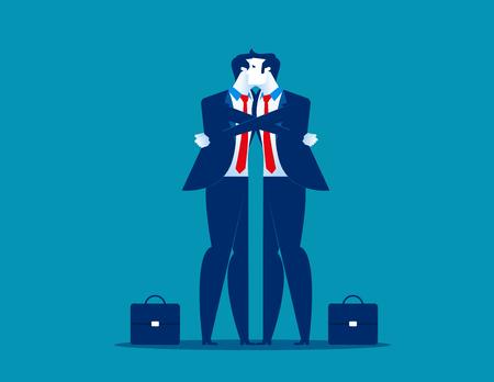 Hug. Businessman giving a hug. Men consolation friend. Concept business communication vector illustration.