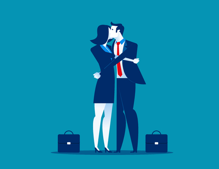 Hug. Businessman giving a hug. Men consolation friend. Concept business communication vector illustration.