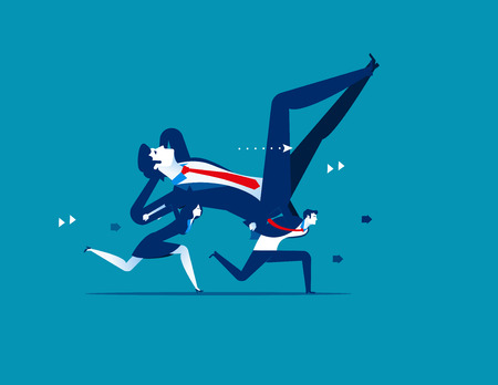 Laziness. Business people is carrying Boss. Concept business vector illustration.