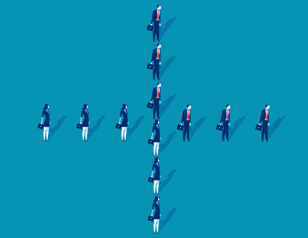 Business people standing shaped like a cross. Concept business vector illustration.