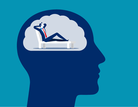 Man imagining relaxing in deckchair. Concept business vector illustration.