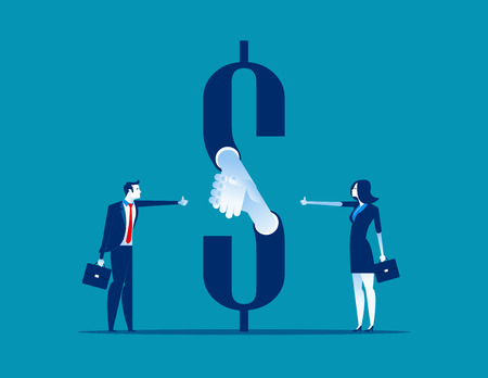 Money handshake. Business agreement. Concept business vector illustration.