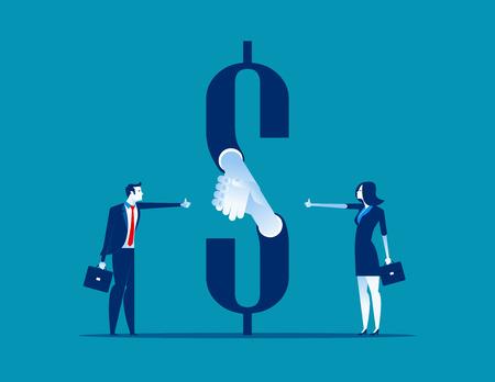 Stretta di mano dei soldi. Accordo commerciale. Illustrazione di vettore di affari di concetto.