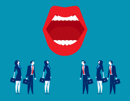Large mouth. Business people and mouth. Concept business vector illustration.