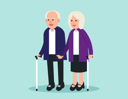 Old person. Two elderly standing and greeting. Concept elderly vector illustration. Design flat character. Illustration