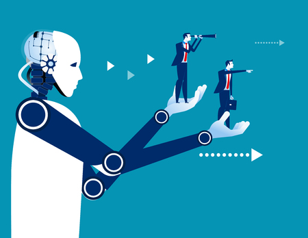 Robot holding a business people. Concept business vector illustration. Automation technology.