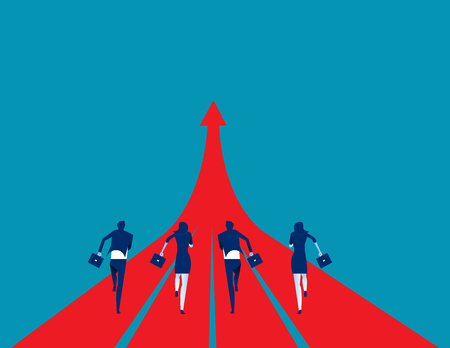 Business team running to success. Concept business success illustration, Vector cartoon character and abstract. Ilustrace