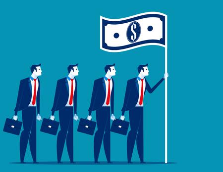 Social capitalism. Business leader holding flag. Concept business vector illustration. Illustration