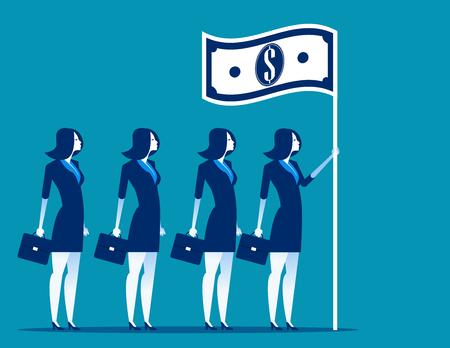 Social capitalism. Business leader holding flag. Concept business vector illustration. Illusztráció