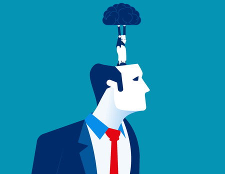 Business head. Robot holding human brain. Concept business vector illustration.